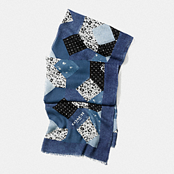 COACH DENIM FLORAL PATCHWORK SHAWL - DENIM - F77815