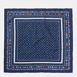 COACH COTTON SILK FLORAL BANDANA - NAVY MULTI - F77826