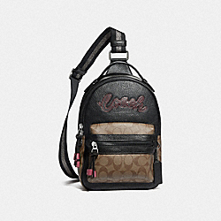 VALE SLINGPACK WITH SIGNATURE CANVAS DETAIL - KHAKI BLACK MULTI/SILVER - COACH F77841