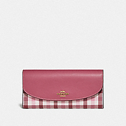 SLIM ENVELOPE WALLET WITH GINGHAM PRINT - BROWN PINK MULTI/GOLD - COACH F77856