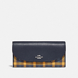 SLIM ENVELOPE WALLET WITH GINGHAM PRINT - NAVY YELLOW MULTI/SILVER - COACH F77856