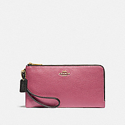 DOUBLE ZIP WALLET IN COLORBLOCK - ROUGE MULTI/GOLD - COACH F77869