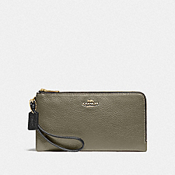 DOUBLE ZIP WALLET IN COLORBLOCK - MILITARY GREEN MUTLI/GOLD - COACH F77869