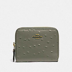 SMALL DOUBLE ZIP AROUND WALLET - MILITARY GREEN/GOLD - COACH F77875