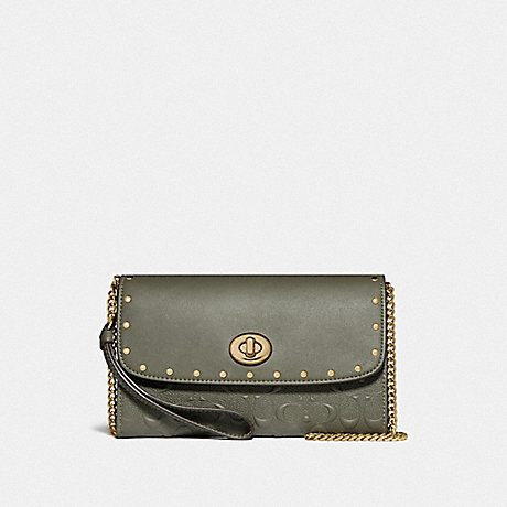 COACH CHAIN CROSSBODY IN SIGNATURE LEATHER WITH RIVETS - MILITARY GREEN/GOLD - F77878