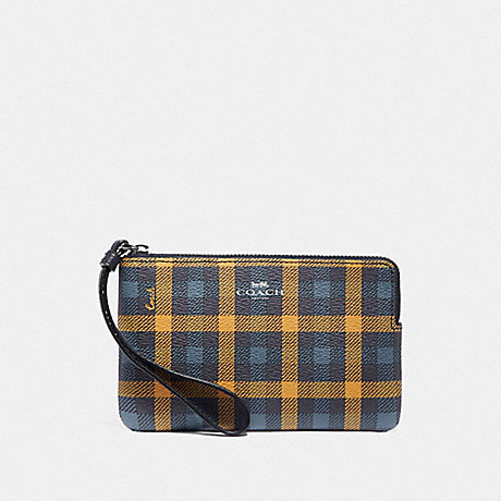COACH CORNER ZIP WRISTLET WITH GINGHAM PRINT - NAVY YELLOW MULTI/SILVER - F77890