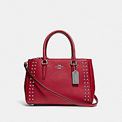 MINI SURREY CARRYALL WITH RIVETS - BRIGHT CARDINAL/SILVER - COACH F77911