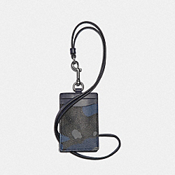 ID LANYARD IN SIGNATURE CANVAS WITH CAMO PRINT - BLUE MULTI/BLACK ANTIQUE NICKEL - COACH F77931