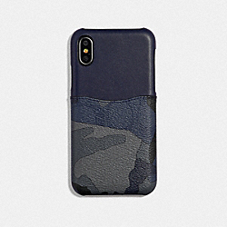 IPHONE X/XS CASE IN SIGNATURE CANVAS WITH CAMO PRINT - BLUE MULTI/BLACK ANTIQUE NICKEL - COACH F77932
