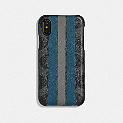 IPHONE X/XS CASE IN SIGNATURE CANVAS WITH VARSITY STRIPE - CHARCOAL/MINERAL/HEATHER GREY - COACH F77936