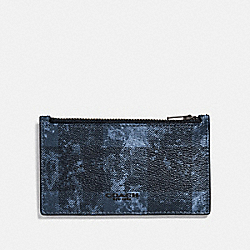 ZIP CARD CASE WITH GRUNGE BUFFALO PLAID PRINT - QB/DENIM - COACH F77947