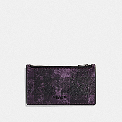 ZIP CARD CASE WITH GRUNGE BUFFALO PLAID PRINT - QB/DEEP PURPLE - COACH F77947