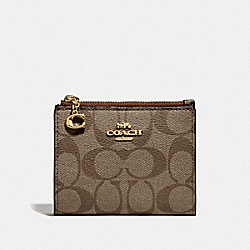 SNAP CARD CASE IN SIGNATURE CANVAS - IM/KHAKI SADDLE 2 - COACH F78002