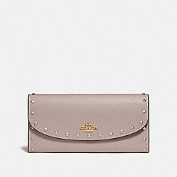 SLIM ENVELOPE WALLET WITH RIVETS - GREY BIRCH/GOLD - COACH F78007