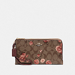 DOUBLE ZIP WALLET IN SIGNATURE CANVAS WITH PRAIRIE DAISY CLUSTER PRINT - KHAKI CORAL MULTI/IMITATION GOLD - COACH F78020