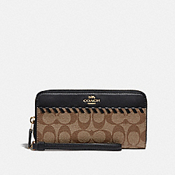ACCORDION ZIP WALLET IN SIGNATURE CANVAS WITH WHIPSTITCH - KHAKI/BLACK/IMITATION GOLD - COACH F78023