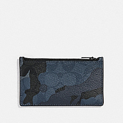 ZIP CARD CASE IN SIGNATURE CANVAS WITH CAMO PRINT - BLUE MULTI/BLACK ANTIQUE NICKEL - COACH F78034