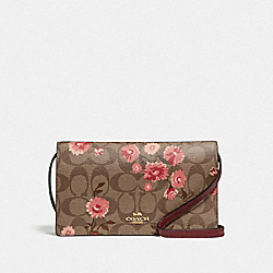 HAYDEN FOLDOVER CROSSBODY CLUTCH IN SIGNATURE CANVAS WITH PRAIRIE DAISY CLUSTER PRINT - KHAKI CORAL MULTI/IMITATION GOLD - COACH F78044