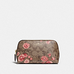 COSMETIC CASE 17 IN SIGNATURE CANVAS WITH PRAIRIE DAISY CLUSTER PRINT - KHAKI CORAL MULTI/IMITATION GOLD - COACH F78046