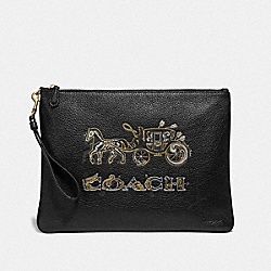 LARGE WRISTLET 30 WITH CHELSEA ANIMATION - BLACK/MULTI/IMITATION GOLD - COACH F78048
