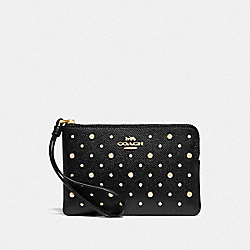 CORNER ZIP WRISTLET WITH RIVETS - BLACK/IMITATION GOLD - COACH F78050