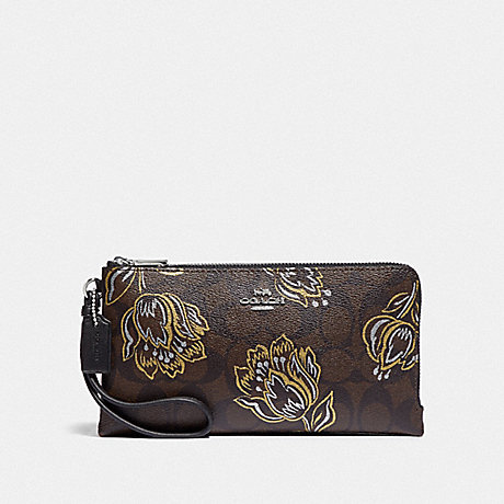 COACH DOUBLE ZIP WALLET IN SIGNATURE CANVAS WITH TULIP PRINT - SV/CHESTNUT METALLIC - F78069