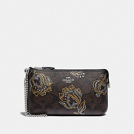 COACH LARGE WRISTLET IN SIGNATURE CANVAS WITH TULIP PRINT - SV/CHESTNUT METALLIC - F78092
