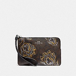 CORNER ZIP WRISTLET IN SIGNATURE CANVAS WITH TULIP PRINT - SV/CHESTNUT METALLIC - COACH F78095