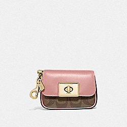 MINI CASSIDY COIN CASE IN BLOCKED SIGNATURE CANVAS - IM/KHAKI PINK PETAL - COACH F78098