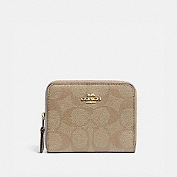 SMALL DOUBLE ZIP AROUND WALLET IN SIGNATURE CANVAS - LIGHT KHAKI/CHALK/GOLD - COACH F78144