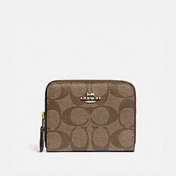 SMALL DOUBLE ZIP AROUND WALLET IN SIGNATURE CANVAS - KHAKI/SADDLE 2/GOLD - COACH F78144