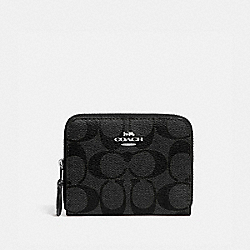 SMALL DOUBLE ZIP AROUND WALLET IN SIGNATURE CANVAS - BLACK SMOKE/BLACK/SILVER - COACH F78144