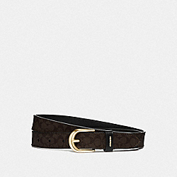 CLASSIC BELT IN SIGNATURE CANVAS - CHESTNUT/BLACK/GOLD - COACH F78179