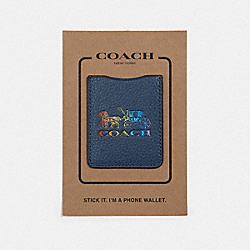 PHONE POCKET STICKER WITH RAINBOW HORSE AND CARRIAGE - DENIM - COACH F78199
