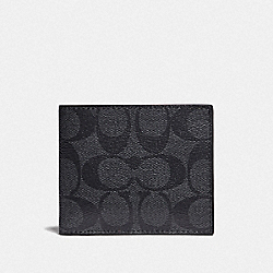 ID BILLFOLD WALLET IN COLORBLOCK SIGNATURE CANVAS - CHARCOAL/BLUE MULTI/BLACK ANTIQUE NICKEL - COACH F78201