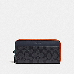 ACCORDION WALLET IN COLORBLOCK SIGNATURE CANVAS - CHARCOAL/BLUE MULTI/BLACK ANTIQUE NICKEL - COACH F78202