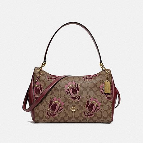 COACH MIA SHOULDER BAG IN SIGNATURE CANVAS WITH DESERT TULIP PRINT FLOCKING - IM/KHAKI PINK MULTI - F78239