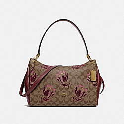 MIA SHOULDER BAG IN SIGNATURE CANVAS WITH DESERT TULIP PRINT FLOCKING - IM/KHAKI PINK MULTI - COACH F78239