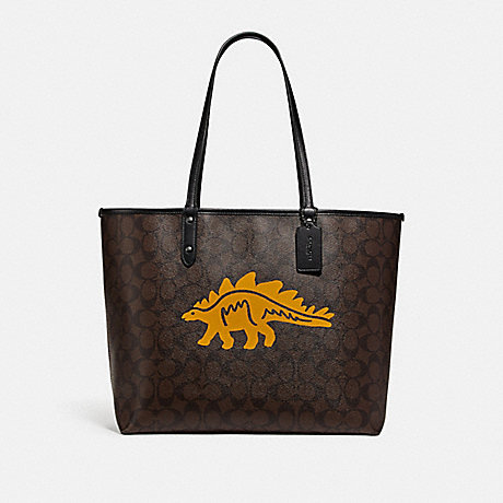 COACH REVERSIBLE CITY TOTE IN SIGNATURE CANVAS WITH DINOSAUR MOTIF - QB/BROWN BLACK MULTI - F78255