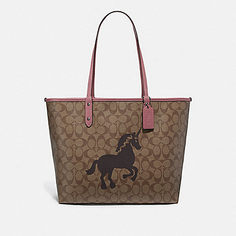 COACH REVERSIBLE CITY TOTE IN SIGNATURE CANVAS WITH UNICORN MOTIF - QB/KHAKI MULTI - F78256