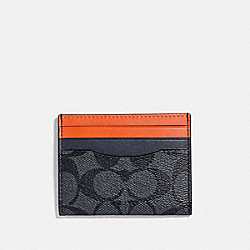 SLIM ID CARD CASE IN COLORBLOCK SIGNATURE CANVAS - CHARCOAL/BLUE MULTI/BLACK ANTIQUE NICKEL - COACH F78270