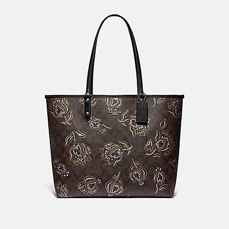 COACH REVERSIBLE CITY TOTE IN SIGNATURE CANVAS WITH TULIP PRINT - SV/CHESTNUT METALLIC/BLACK - F78282
