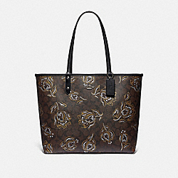 REVERSIBLE CITY TOTE IN SIGNATURE CANVAS WITH TULIP PRINT - SV/CHESTNUT METALLIC/BLACK - COACH F78282