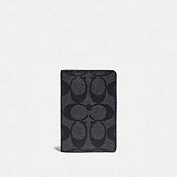 CARD WALLET IN COLORBLOCK SIGNATURE CANVAS - CHARCOAL/BLUE MULTI/BLACK ANTIQUE NICKEL - COACH F78676