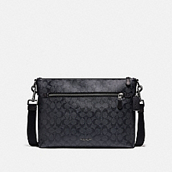 GRAHAM SOFT MESSENGER IN SIGNATURE CANVAS - CHARCOAL/BLACK/BLACK ANTIQUE NICKEL - COACH F78722