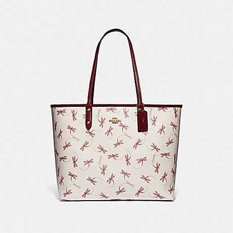 COACH REVERSIBLE CITY TOTE WITH DRAGONFLY PRINT - IM/CHALK MULTI - F78729