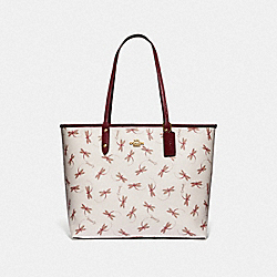 REVERSIBLE CITY TOTE WITH DRAGONFLY PRINT - IM/CHALK MULTI - COACH F78729