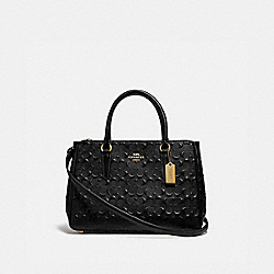 SURREY CARRYALL IN SIGNATURE LEATHER - BLACK/IMITATION GOLD - COACH F78751