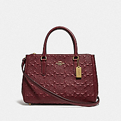 SURREY CARRYALL IN SIGNATURE LEATHER - WINE/IMITATION GOLD - COACH F78751