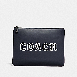LARGE POUCH WITH COACH SCRIPT - MIDNIGHT NAVY/BLACK ANTIQUE NICKEL - COACH F78758